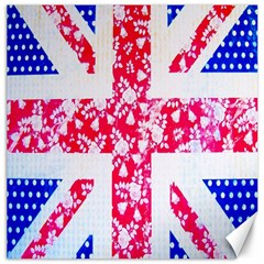British Flag Abstract British Union Jack Flag In Abstract Design With Flowers Canvas 20  x 20