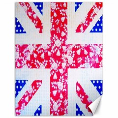 British Flag Abstract British Union Jack Flag In Abstract Design With Flowers Canvas 18  x 24
