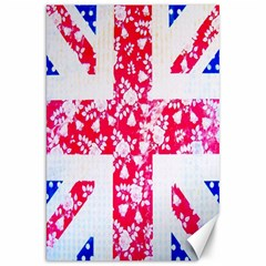 British Flag Abstract British Union Jack Flag In Abstract Design With Flowers Canvas 20  X 30
