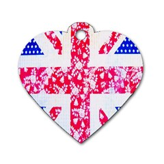British Flag Abstract British Union Jack Flag In Abstract Design With Flowers Dog Tag Heart (One Side)