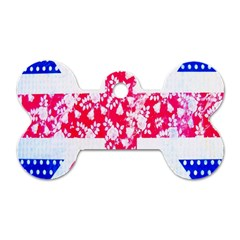 British Flag Abstract British Union Jack Flag In Abstract Design With Flowers Dog Tag Bone (Two Sides)