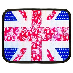 British Flag Abstract British Union Jack Flag In Abstract Design With Flowers Netbook Case (Large)