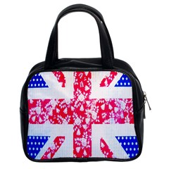 British Flag Abstract British Union Jack Flag In Abstract Design With Flowers Classic Handbags (2 Sides)