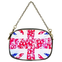 British Flag Abstract British Union Jack Flag In Abstract Design With Flowers Chain Purses (One Side)