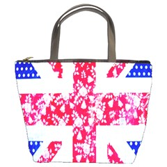 British Flag Abstract British Union Jack Flag In Abstract Design With Flowers Bucket Bags