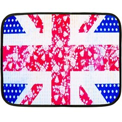 British Flag Abstract British Union Jack Flag In Abstract Design With Flowers Double Sided Fleece Blanket (mini)