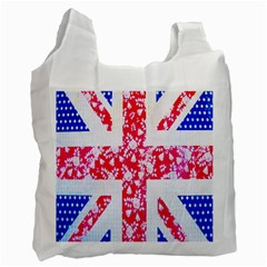 British Flag Abstract British Union Jack Flag In Abstract Design With Flowers Recycle Bag (one Side)