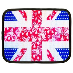 British Flag Abstract British Union Jack Flag In Abstract Design With Flowers Netbook Case (xxl)