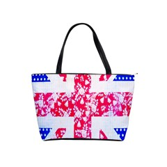 British Flag Abstract British Union Jack Flag In Abstract Design With Flowers Shoulder Handbags