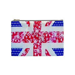 British Flag Abstract British Union Jack Flag In Abstract Design With Flowers Cosmetic Bag (Medium)