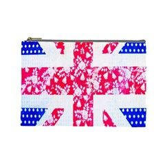 British Flag Abstract British Union Jack Flag In Abstract Design With Flowers Cosmetic Bag (large)