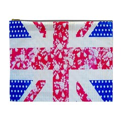 British Flag Abstract British Union Jack Flag In Abstract Design With Flowers Cosmetic Bag (xl)