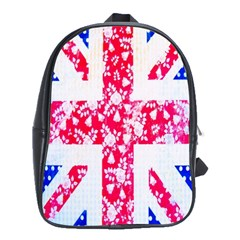 British Flag Abstract British Union Jack Flag In Abstract Design With Flowers School Bags(large)