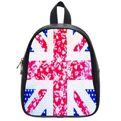 British Flag Abstract British Union Jack Flag In Abstract Design With Flowers School Bags (Small)