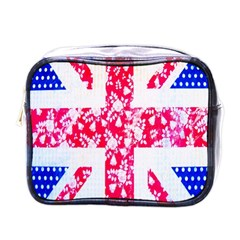 British Flag Abstract British Union Jack Flag In Abstract Design With Flowers Mini Toiletries Bags