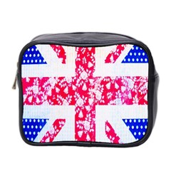 British Flag Abstract British Union Jack Flag In Abstract Design With Flowers Mini Toiletries Bag 2 Side