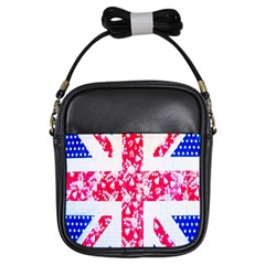 British Flag Abstract British Union Jack Flag In Abstract Design With Flowers Girls Sling Bags