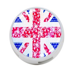 British Flag Abstract British Union Jack Flag In Abstract Design With Flowers 4-Port USB Hub (Two Sides)