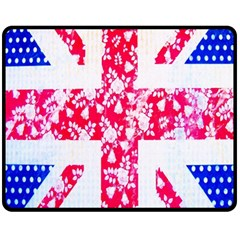 British Flag Abstract British Union Jack Flag In Abstract Design With Flowers Fleece Blanket (Medium)