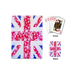 British Flag Abstract British Union Jack Flag In Abstract Design With Flowers Playing Cards (mini)