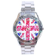 British Flag Abstract British Union Jack Flag In Abstract Design With Flowers Stainless Steel Analogue Watch