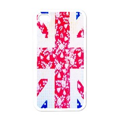 British Flag Abstract British Union Jack Flag In Abstract Design With Flowers Apple Iphone 4 Case (white)