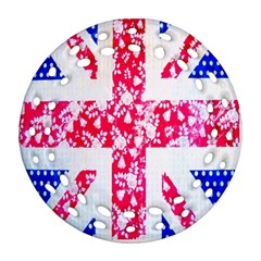 British Flag Abstract British Union Jack Flag In Abstract Design With Flowers Round Filigree Ornament (two Sides)