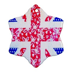 British Flag Abstract British Union Jack Flag In Abstract Design With Flowers Snowflake Ornament (Two Sides)
