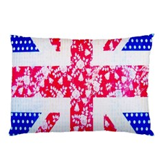 British Flag Abstract British Union Jack Flag In Abstract Design With Flowers Pillow Case (Two Sides)