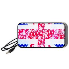 British Flag Abstract British Union Jack Flag In Abstract Design With Flowers Portable Speaker (Black)