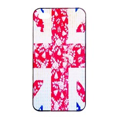 British Flag Abstract British Union Jack Flag In Abstract Design With Flowers Apple iPhone 4/4s Seamless Case (Black)