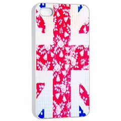 British Flag Abstract British Union Jack Flag In Abstract Design With Flowers Apple Iphone 4/4s Seamless Case (white)
