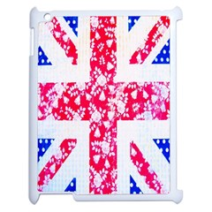 British Flag Abstract British Union Jack Flag In Abstract Design With Flowers Apple iPad 2 Case (White)