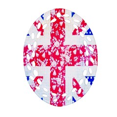 British Flag Abstract British Union Jack Flag In Abstract Design With Flowers Ornament (oval Filigree)