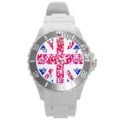 British Flag Abstract British Union Jack Flag In Abstract Design With Flowers Round Plastic Sport Watch (l)