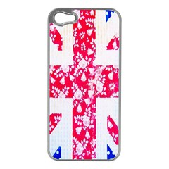 British Flag Abstract British Union Jack Flag In Abstract Design With Flowers Apple iPhone 5 Case (Silver)