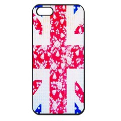 British Flag Abstract British Union Jack Flag In Abstract Design With Flowers Apple Iphone 5 Seamless Case (black)