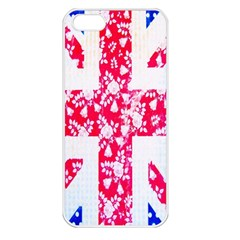 British Flag Abstract British Union Jack Flag In Abstract Design With Flowers Apple iPhone 5 Seamless Case (White)