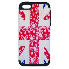 British Flag Abstract British Union Jack Flag In Abstract Design With Flowers Apple Iphone 5 Hardshell Case (pc+silicone)