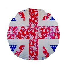 British Flag Abstract British Union Jack Flag In Abstract Design With Flowers Standard 15  Premium Round Cushions