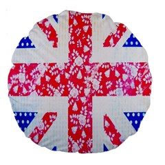British Flag Abstract British Union Jack Flag In Abstract Design With Flowers Large 18  Premium Round Cushions
