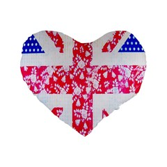 British Flag Abstract British Union Jack Flag In Abstract Design With Flowers Standard 16  Premium Heart Shape Cushions