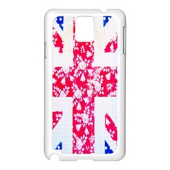 British Flag Abstract British Union Jack Flag In Abstract Design With Flowers Samsung Galaxy Note 3 N9005 Case (White)