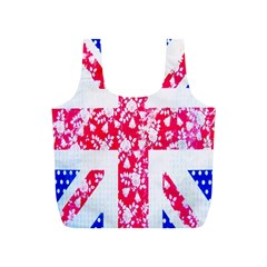 British Flag Abstract British Union Jack Flag In Abstract Design With Flowers Full Print Recycle Bags (S)