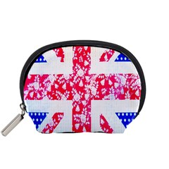 British Flag Abstract British Union Jack Flag In Abstract Design With Flowers Accessory Pouches (small)