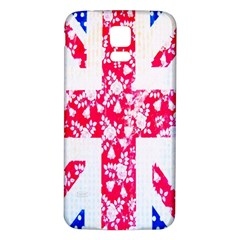 British Flag Abstract British Union Jack Flag In Abstract Design With Flowers Samsung Galaxy S5 Back Case (White)