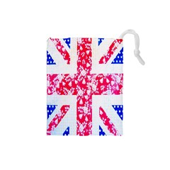 British Flag Abstract British Union Jack Flag In Abstract Design With Flowers Drawstring Pouches (Small)