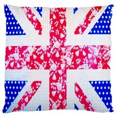 British Flag Abstract British Union Jack Flag In Abstract Design With Flowers Standard Flano Cushion Case (two Sides)