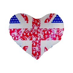British Flag Abstract British Union Jack Flag In Abstract Design With Flowers Standard 16  Premium Flano Heart Shape Cushions