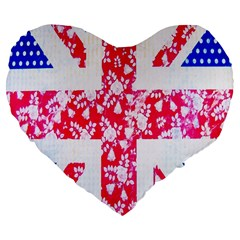 British Flag Abstract British Union Jack Flag In Abstract Design With Flowers Large 19  Premium Flano Heart Shape Cushions